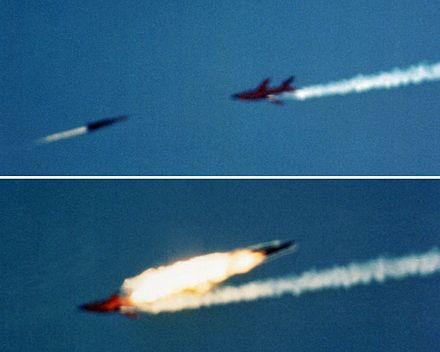 A RIM-67 surface to air missile intercepts a Firebee drone at White Sands, 1980. RIM-67 intercepts Firebee drone at White Sands 1980.jpg