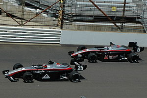 J. R. Hildebrand - Hildebrand (inside) racing alongside teammate Andrew Prendeville in the 2008 Firestone Freedom 100