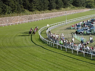 Jockey - Six jockeys and their horses taking a curve