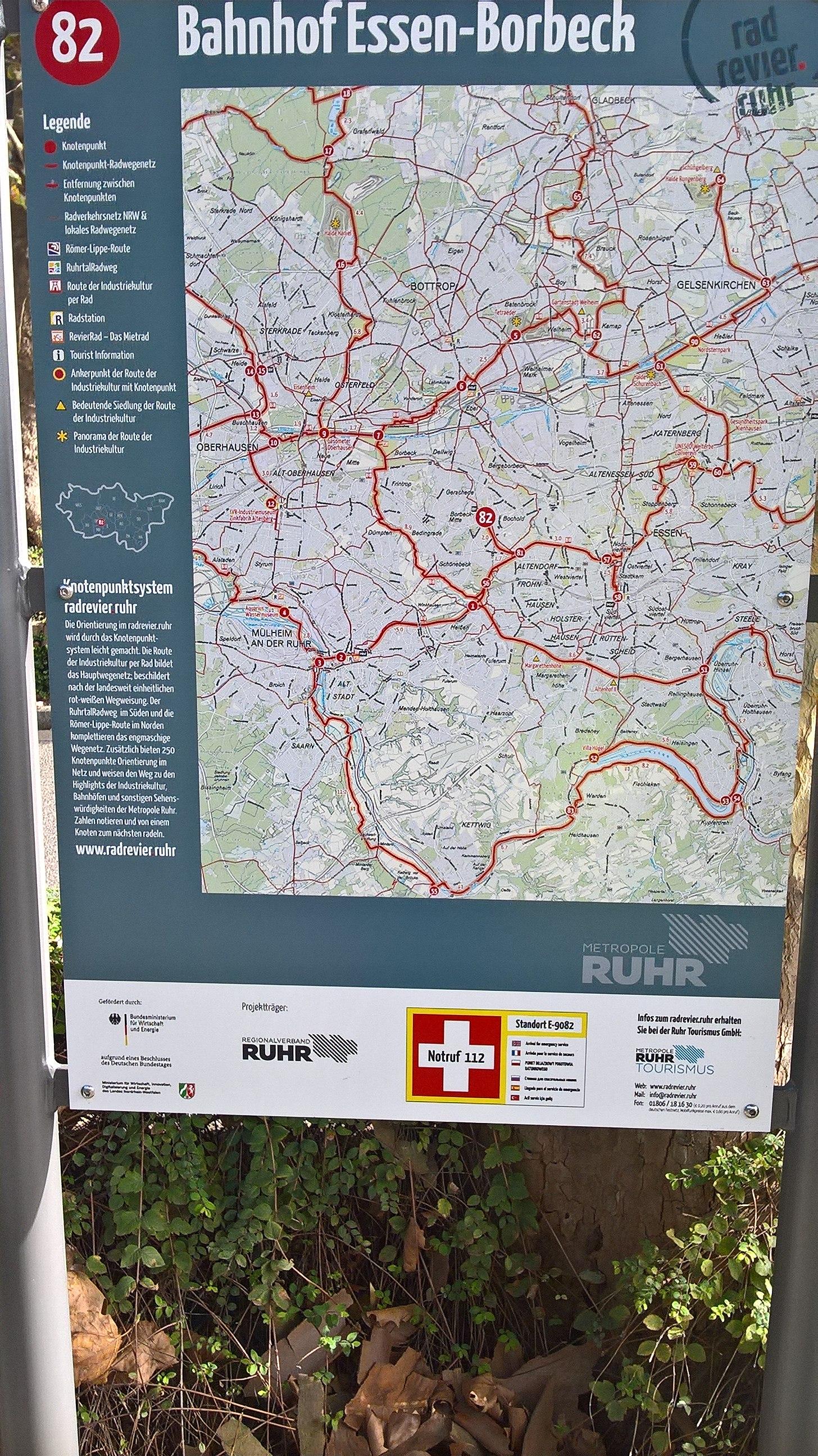 Karte Essen.File Radrevier Ruhr Knotenpunkt 82 Bahnhof Essen Borbeck Karte Jpg