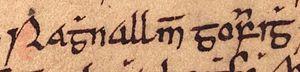 Ragnall mac Gofraid - Image: Ragnall mac Gofraid (Oxford Bodleian Library MS Rawlinson B 489, folio 35r)