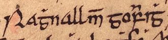 Ragnall mac Gofraid - Ragnall's name as it appears on folio 35r of Oxford Bodleian Library Rawlinson B 489 (the Annals of Ulster).