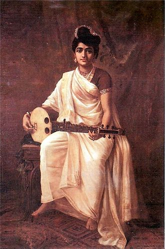 Swarabat - 'Lady playing swarabat'. Painting by Raja Ravi Varma.