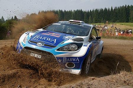 Nasser Al-Attiyah driving at Rannakylä shakedown in Muurame