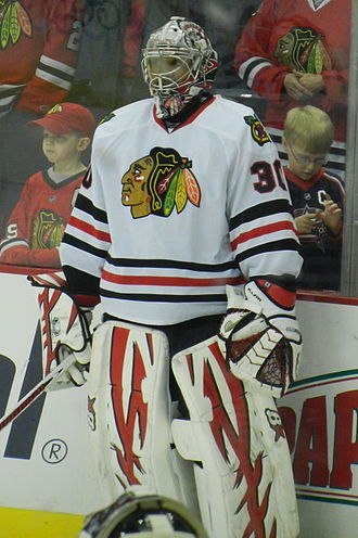 Ray Emery - Emery warming up with the Chicago Blackhawks in 2012