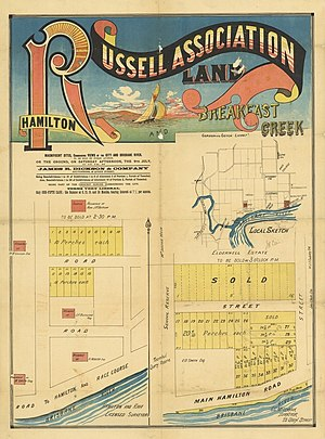 Hamilton, Queensland - Real estate map of Russell Association Land, Hamilton and Breakfast Creek, ca. 1880s