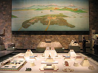 Tenochtitlan - A picture of Tenochtitlan and a model of the Templo Mayor.