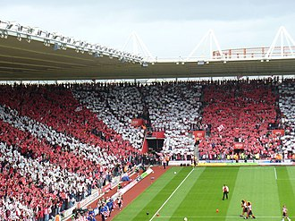 Southampton F.C. - Fans create a tifo in the St Mary's Stadium