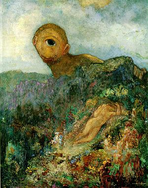 The Cyclops, gouache and oil by Odilon Redon, ...