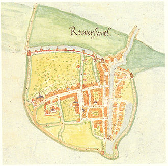 Reimerswaal (city) - Reimerswaal map from a 1560 atlas