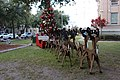 Reindeer, sled and Christmas tree, Lowndes County Courthouse Square, Christmas 2019.jpg