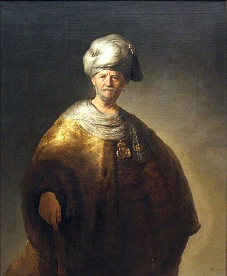 """Turquerie - Man In Oriental Costume (""""The Noble Slav""""), oil on canvas, by Rembrandt, 1632. A significant example of European emulation of Ottoman dress for the purpose of portraying a dignified, elite appearance."""