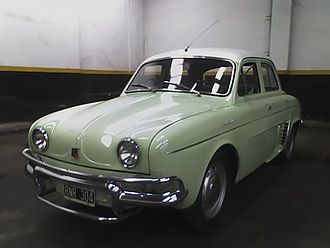 Argentine Dauphine (made by Industrias Kaiser Argentina) - This unit was made in 1962 - Note the additional piece over the bumpers Renault Dauphine Argentino con Defensas en sus paragolpes.jpg