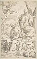 Rest on the flight into Egypt, Mary holding the infant Christ while St. Joseph hands him a fruit MET DP815020.jpg