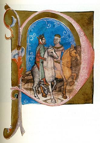 Wenceslaus III of Bohemia - Wenceslaus leaves Hungary (from the Illuminated Chronicle)