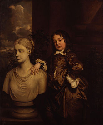 Richard Gibson (painter) - A portrait of Gibson with a classical bust, painted by Peter Lely
