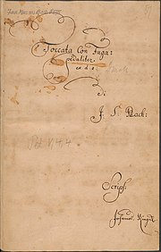 Title page of BWV 565 in Johannes Ringk's handwriting