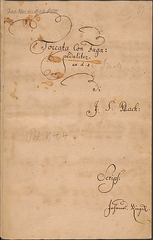 Toccata and Fugue in D minor, BWV 565 - Title page of Ringk's manuscript