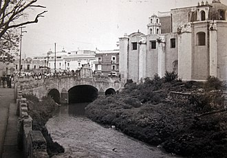 Puebla City - Old bridge and river San Francisco that ran through the city until 1974