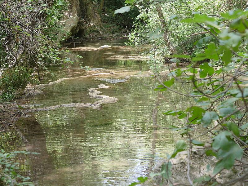 River in terrace on the 'sentier des Encanaux' in Auriol, département des Bouches du Rhône in France.