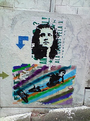 Roberto Carlos (singer) - A stenciled graffiti of Roberto Carlos in the streets of São Paulo. It depicts the cover of his self-titled 1972 album.