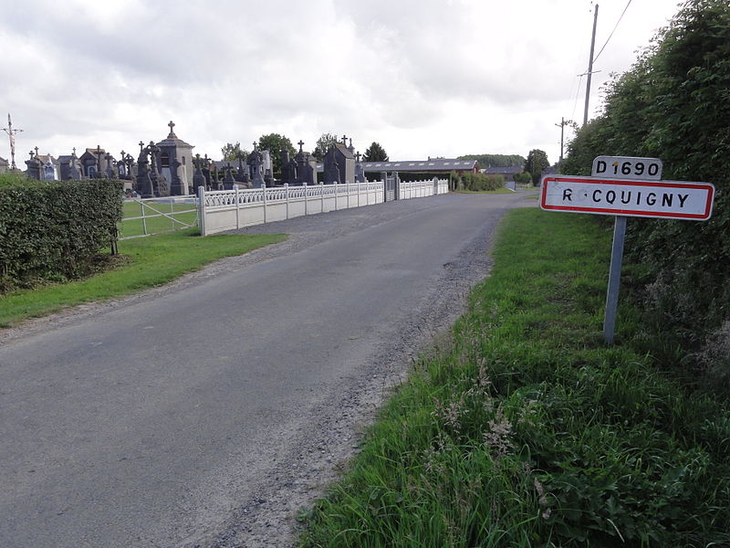 Rocquigny (Aisne) city limit sign and cemetery