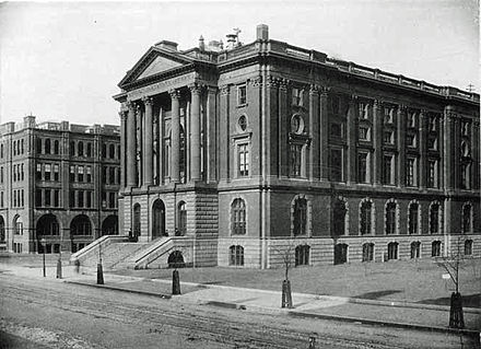 "An 1889 photogravure of the 1865 ""Rogers"" Building in the foreground with the 1883 ""Walker"" Building in the background"
