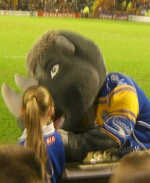 Leeds Rhinos - Ronnie the Rhino, the mascot of Leeds