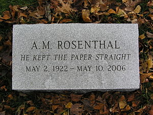 A. M. Rosenthal - The epitaph of Rosenthal