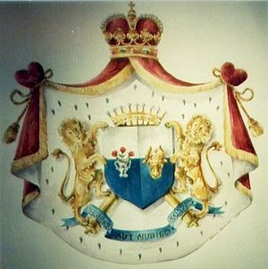 Danubian Principalities - Royal Full Achievement of Arms (coat of arms) of the Rosetti (Rossetti) family; motto: VERENO AUT NUBILO SOSPES