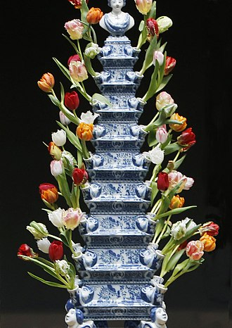 Royal Tichelaar Makkum - Royal Tichelaar Makkum flower holder (a replica of a pyramid flower-holder made by the Greek A factory. The replica was made in tin-glazed pottery by Royal Tichelaar Makkum).