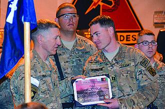 Russell Adam Burnham - Captain Burnham, receives U.S. Army inaugural Ditch Medicine Award. Afghanistan, 2014.