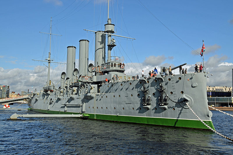 The Avrora Battleship, which once served as part of the Baltic fleet. It is now a museum in St. Petersburg.