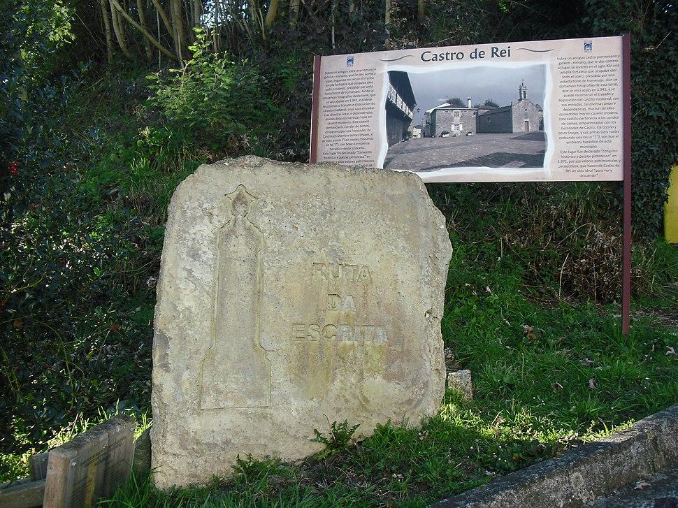 Marcador da ruta da Escrita na parroquia de Castro de Rei.