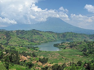Lake and volcano in the Virunga Mountains RwandaVolcanoAndLake cropped2.jpg