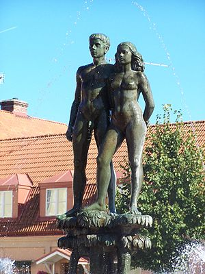 "Ask and Embla - ""Ask och Embla"" (1948) by Stig Blomberg. In Sölvesborg, Sweden. Photo by Henrik Sendelbach."