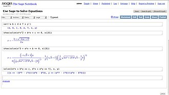 SageMath - Equation solving and typesetting using the SageMath notebook web interface