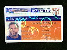 South African Department of Labour Class III Diving Instructor registration card