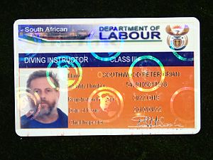 Diver certification - South African Department of Labour Class III Diving Instructor registration card