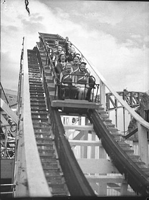 Luna Park Sydney - Performers from the Hollywood Hotel revue riding the Big Dipper in 1935