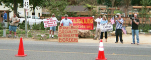 Save Our State - Save Our State protests a day labor center in Laguna Beach, September 25, 2005.