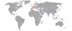 World map with Spain and Western Sahara highlighted