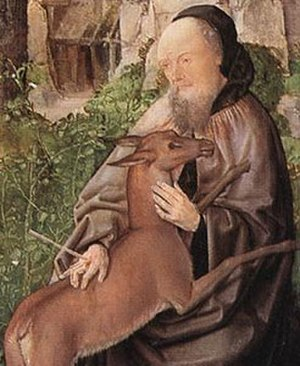 Saint Giles - Detail of Saint Giles and the Hind, by the Master of Saint Giles c. 1500