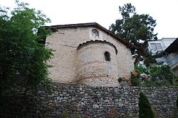 Saints Cosmas and Damian of the Gymnasium Church in Kastoria from East.jpg