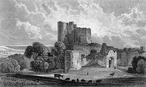 Saltwood Castle - Saltwood Castle c. 1830 before the gatehouse was restored.