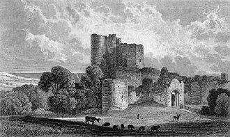 Saltwood Castle - Saltwood Castle c. 1830 before the gatehouse was restored.