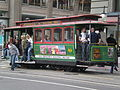 San Francisco cable car no. 13 stopped at Union Square.JPG