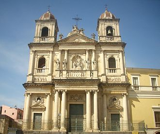 Acireale - Church of Saint Dominic, Piazza San Domenico. This neoclassical style church was rebuilt in the 18th century after the original 16th-century structure sustained considerable damage caused by the 1693 Sicily earthquake