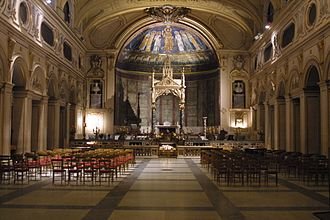 Santa Cecilia in Trastevere - The nave, at Night.