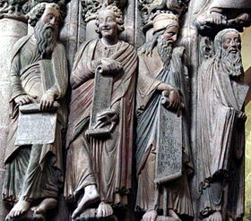 Pórtico da Gloria, Santiago. The colouring once common to much Romanesque sculpture has been preserved.